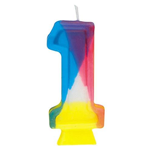 Número 1 Vela de cumpleaños del arco iris