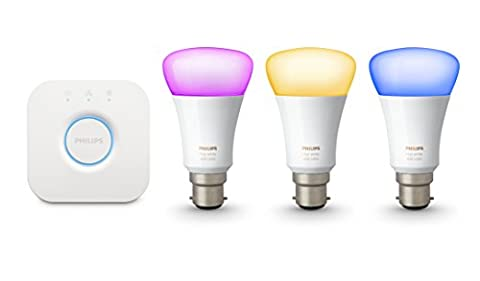 Philips Hue White and Colour Ambiance Wireless Lighting B22 Bayonet Cap Starter Kit, 3 x Philips Hue 9 W B22 Richer Colour Bulbs, 1 x Hue Bridge 2.0, Apple Home Kit Enabled, Works with