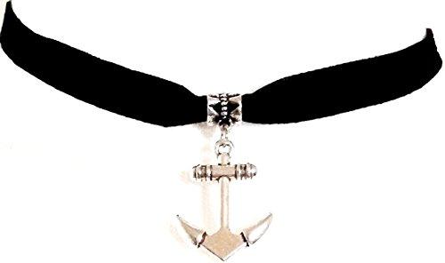 Halskette aus Velours, viktorianischer Stil, mit Anhänger Anker–Schwarz (Velour Armband)