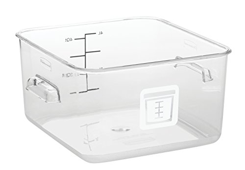 Rubbermaid Commercial Square Food Storage Container, Clear, White Label, 3.8 L