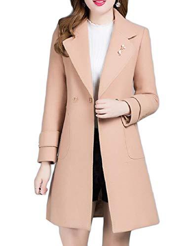 Andopa Damen dünne wolljacke overcoat 2 button kerbe revers pea coat M Camel (Wolle Camel Pea Damen Coat)