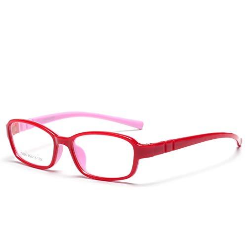 Zebuakuade Kinder bonbonfarbene Brillenfassung mit weichen, Nicht verschreibungspflichtigen Brillen für Frauen (Color : Red)