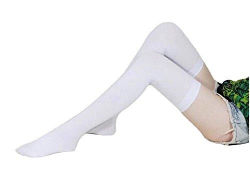 Solike Frauen Mädchen Mode undurchsichtig über Knie Oberschenkel hohe elastische Socken neu (Weiß) (Undurchsichtige Strümpfe Nylon)