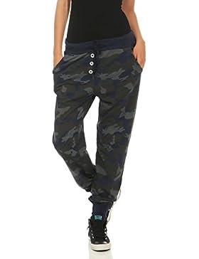 malito Camouflage Pantaloni Boyfriend Baggy Aladin Bombacho Sudadera 8019 Mujer Talla Única