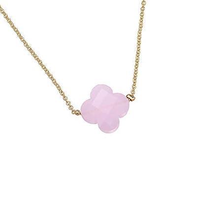 Collier chaine Trèfle pierre de gemmes - Clover collier