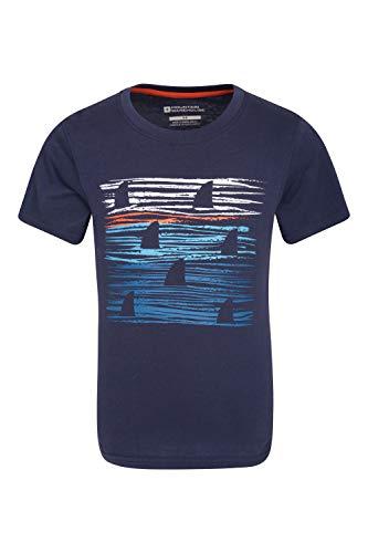 Mountain Warehouse Sunset Stripe Kinder-T-Shirt - 100% Baumwolle, UV-Schutz, Mädchen & Jungen, leicht, atmungsaktiv, Bedruckt - Für Picknicks, Aktivitäten Frühling Blau 152 (11-12 Jahre) -