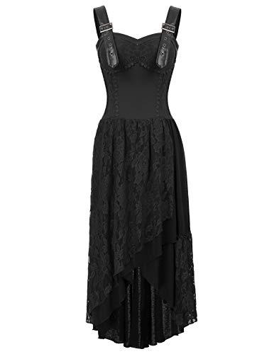 Belle Poque Lang Gothic Kleid Damen Schwarz Korsett Kleid Spitze Steampunk Kleid L BP579-1