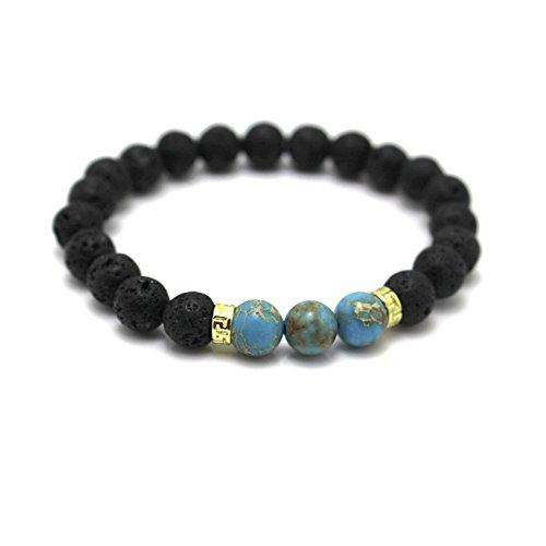 MESE London Yoga Armband Naturstein Perlen Blue Planet Erde Home Wristband - Elegant Geschenkbox