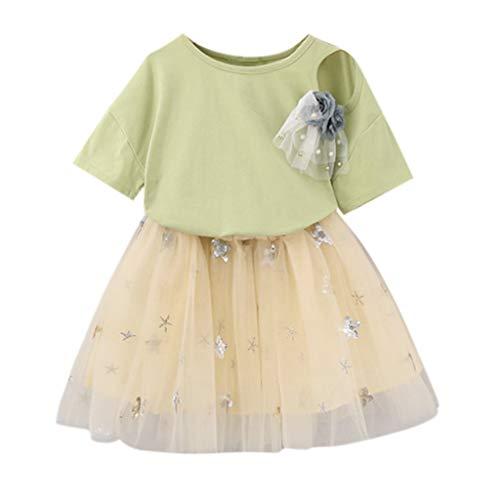 TTLOVE Kleinkind Kinder Baby MäDchen Outfits Kleidung Blume T-Shirt Top + Sterne Kleid,Süß Prinzessin TüLl Tutu Brautkleid,Kid Girl Kleid Dress(Grün,140)