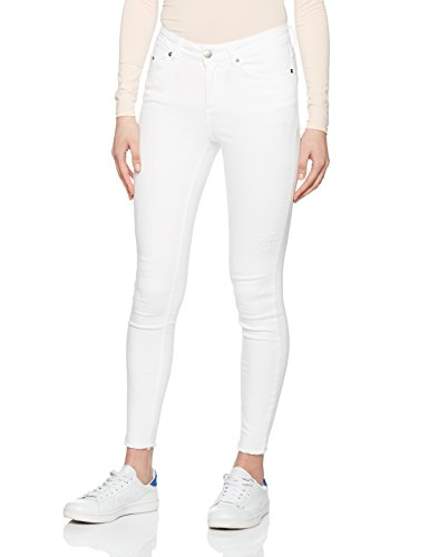PIECES Damen Skinny Pcfive Delly Cropped Jeans Bwhi/Noos, Weiß (Bright White Bright White), 42 (Herstellergröße: XL) (Cropped Pant Denim)