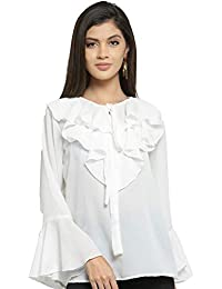 1d686eaa298 indietoga Women s White Flaired Top (Bell Sleeves Plus Size)