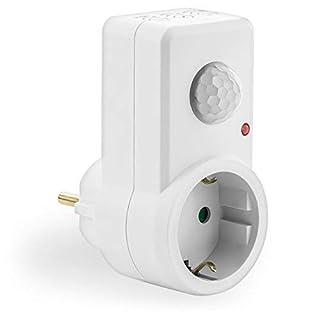 deleyCON 1x Infrarot Bewegungsmelder für Steckdosen im Innenbereich Lichtsteuerung 120° Arbeitsfeld 9m Reichweite eingebauter Lichtsensor einstellbare Empfindlichkeit Weiß