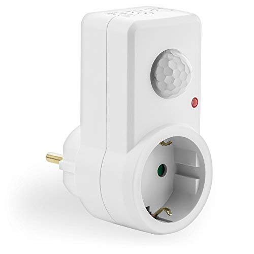 deleyCON Infrarot Bewegungsmelder für Steckdosen Lichtsteuerung 120° Arbeitsfeld 9m Reichweite Lichtsensor einstellbare Empfindlichkeit Weiß