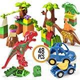 Prextex Set 48 Pezzi Costruzione Dinosauri Paradiso per Apprendimento STEM Blocchi Mighty Dinosaur Blocks Set Blocchi da Costruzione Compatibili con Tutti i Dinosauri Giocattolo dei Principali Brand