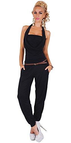 womens-onesie-all-in-one-jumpsuit-onesie-business-suit-waterfall-halter-neck-stretch-black-10