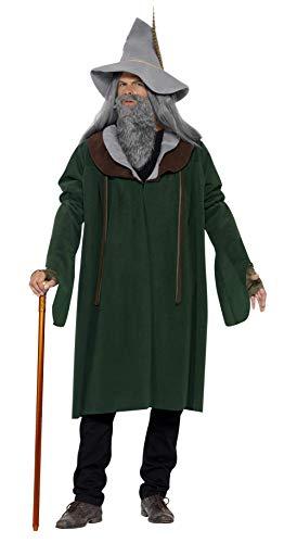 Smiffys, Herren Waldzauberer Kostüm, Umhang, Hut, Bart und Handschuhe, Größe: M, 43719