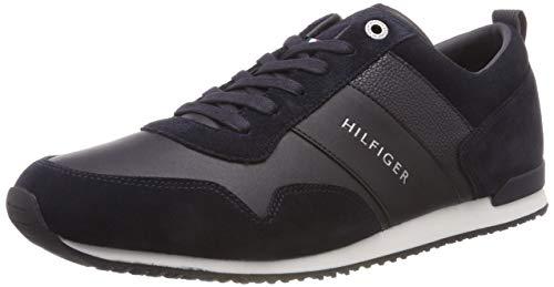 Tommy Hilfiger Iconic Leather Suede Mix Runner, Scarpe da Ginnastica Basse Uomo, Blu (Midnight 403), 48 EU