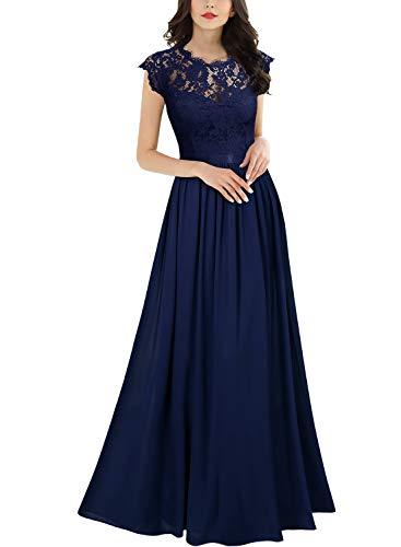 Miusol Robe de Soirée Femmes Élégant Plissée Mousseline Longue Robe de marié Bleu 2XL