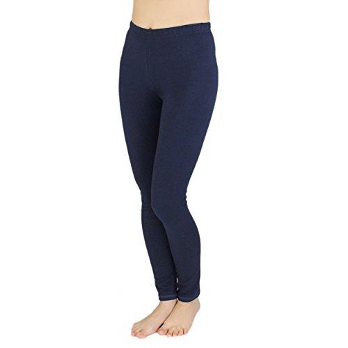 Alkato Damen Leggings Lang Blickdicht Baumwolle, Farbe: Dunkelblau, Größe: 36