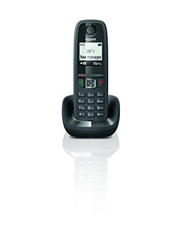 """Gigaset AS405 - Teléfono Inalámbrico, Manos Libres, 100 Contactos, Pantalla gráfica iluminada 1.8"""", letra tamaño grande, Color Negro"""