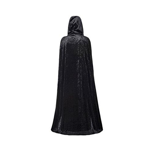 g mit Kapuze Party-Kostüm Verkleidung 170cm rot/blau/schwarz, schwarz, Einheitsgröße ()