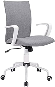 LANNY Office Desk Chair with Adjustable Height, White Mordern Arms Chair,Swivel Computer Home Task Chairs Grey