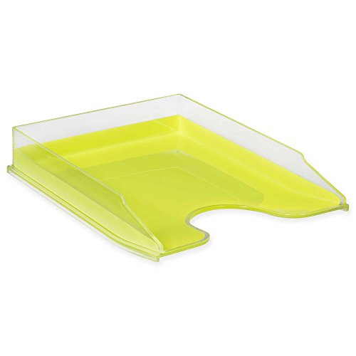 HomeCrate Modern Desk Organizer Stackable Letter Tray, Set of 4 - Clear/Lime Lime Tray Set