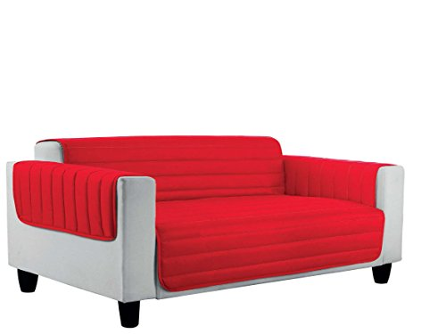 Italian bed linen cd-el-4p copri divano trapuntato in microfibra anallergica, doubleface, rosso/royal, 4 posti