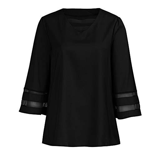 Aiserkly Frauen-Damen-V-Ausschnitt festes halbes Aufflackern-Hülsen-Loses beiläufiges T-Shirt übersteigt Bluse Schwarz M