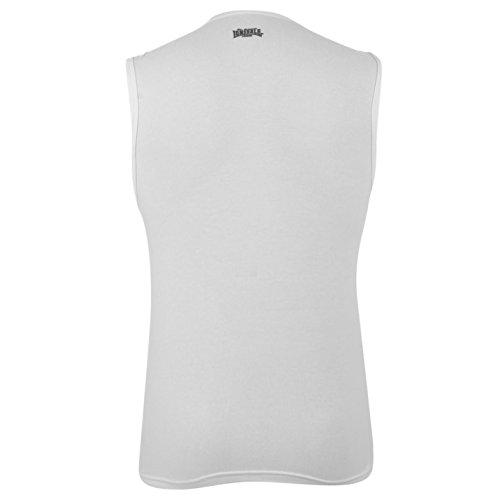 Lonsdale Herren Aermellos T Shirt Fitness Muskelshirt Sportshirt Unterhemd Weiß