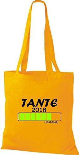Geschenk TANTE ShirtInStyle 2018 Stoffbeutel Goldgelb Loading Geburt Baumwolltasche nRRwYUHq