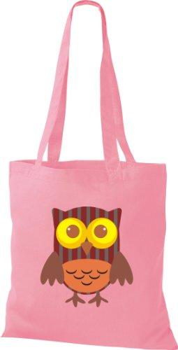 Bunte Stoffbeutel Eule streifen Punkte diverse mit Karos rosa Retro Owl Tragetasche Farbe niedliche 1wBdqwS