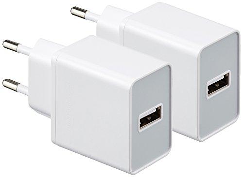 AmazonBasics - Netzteil / Ladegerät mit 1 USB-Anschluss, 2,4 A, Weiß, 2er-Pack