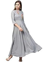 AKHILAM Women's Rayon Anarkali Gown For Women Readymade (VRDN77006-S_Grey)