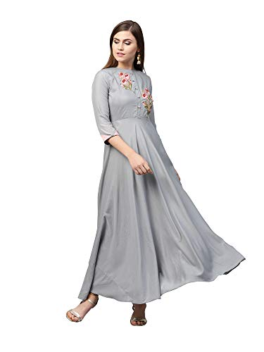 AKHILAM Women's Rayon Anarkali Gown For Women Readymade (VRDN77006-Xl_Grey_Xl)