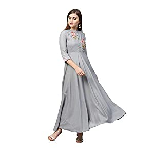 AKHILAM Women's Rayon Anarkali Kurti (kurti for women VRDN77006-S_Grey)