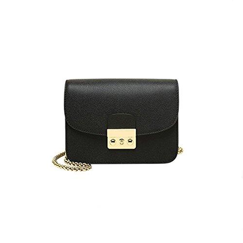 LS Kleine Quadratische Tasche Leder Leder Schulter Diagonal,Black