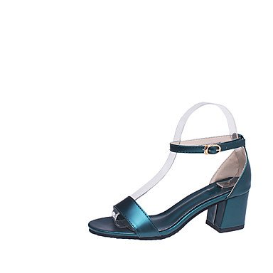 WIKAI Women's Heels Basic Pump Synthetic Microfiber PU Spring Summer Wedding Office & Career Party & Evening Dress Basic Pump Buckle Chunky Heel,Dark Green,US8.5 / EU39 / UK6.5 / CN40