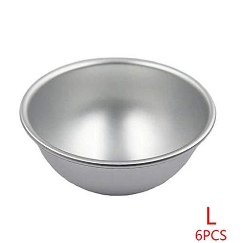 Zerama 6pcs Aluminum Alloy Half Ball Cake Mold Fast Shaping Mould Round Easy Bake Pan Bakery Tools -