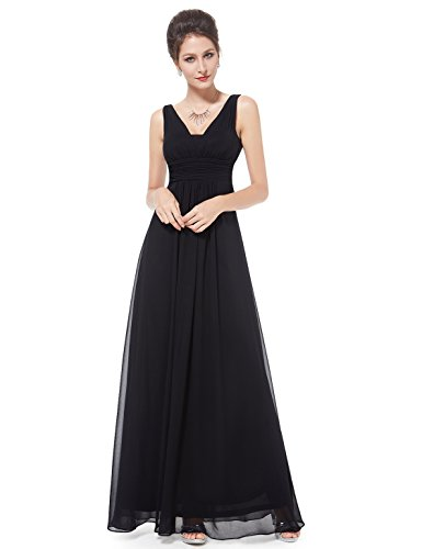 Ever Pretty Damen Chiffon V-Ausschnitt Lang Abendkleider Abschlussball Kleider 38 EU (Herstellergröße: 10 UK) Schwarz (Schwarzes Kleid Langes)