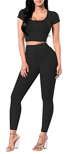 Blansdi Damen Elegant Bodycon Crop Top Hosen Sportanzug Zweiteilige Outfit Yoga Trainings-Kleidung Jogger Streetwear Sportswear Sets Hosenanzug Clubwear