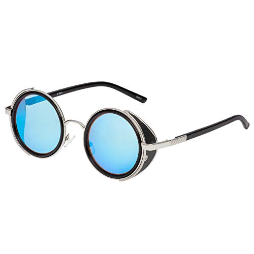 UltraByEasyPeasyStore Ultra Silber Rahmen Blau Linsen Steampunk Sonnenbrille Retro Damen Herren Rund Rave Gothic Vintage mit Scheuklappen UV400 Schutz Metall Unisex