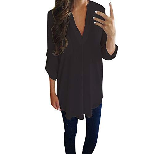 Bluse Damen Casual Einfarbig Chiffon Langarm V-Ausschnitt Übergröße Shirt T-Shirt Tunika Lose Langshirt Oberteil Tops Beiläufig Hemd