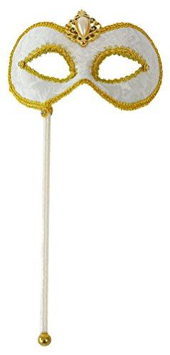 Karneval-Klamotten Venezianische Masken Damen Venezianische Maske weiß Gold mit Stab und Schmuck Luxus Augenmaske Viktorianisch Venedig Venezianisch für - Viktorianischen Motto Kostüm