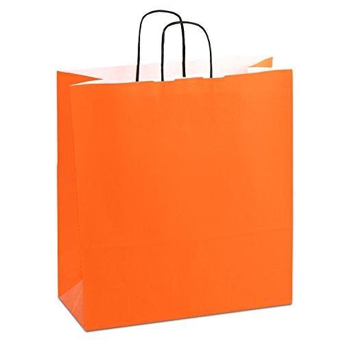 (150 x Papiertaschen orange 40+16x45 cm | stabile Papiertragetaschen farbig | Paper Bag Kordelhenkel | Papiertüten Groß | HUTNER)