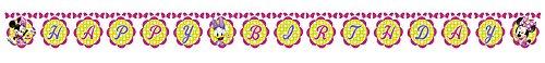 (1 Happy Birthday Banner * MINNIE MAUS * für Kindergeburtstag oder Motto-Party // Party Kette Motto Mickey Mouse Entenhausen Daisy Duck)