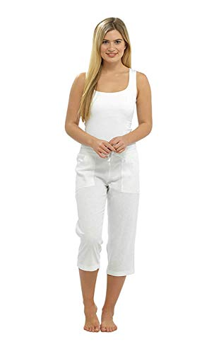 Hari Deals Damen Unifarben Gerippter Taille Leinen Sommer Shortie 3/4 Hose Shorts - Weiß 3