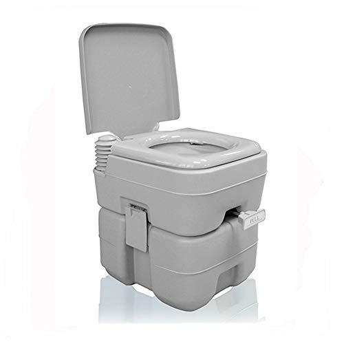 WC Esterno Portatile 20L Compatto Vasino Loo Campeggio Camper Picnic Festival di Pesca con Coperchio Flush Toilet Bowl