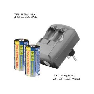AccuPower CR123A 2fach Ladegerät inklusive 2 Stück Li-ion Akkus CR123A