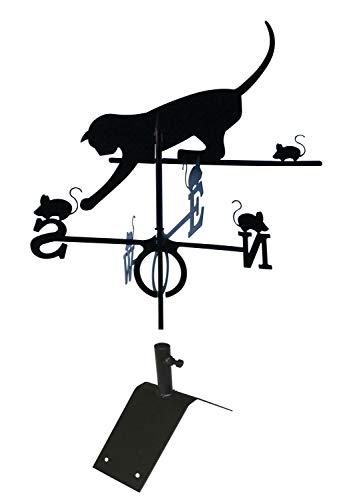 SvenskaV Wetterfahne Windspiel Katze groß 59 x 100 cm, inkl. Dachfirst-Träger
